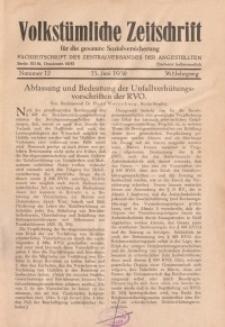 Volkstümliche Zeitschrift für die gesamte Sozialversicherung, 36. Jahrgang, 1930, H. 12