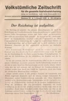 Volkstümliche Zeitschrift für die gesamte Sozialversicherung, 36. Jahrgang, 1930, H. 15