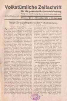 Volkstümliche Zeitschrift für die gesamte Sozialversicherung, 36. Jahrgang, 1930, H. 21