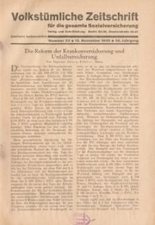 Volkstümliche Zeitschrift für die gesamte Sozialversicherung, 36. Jahrgang, 1930, H. 22