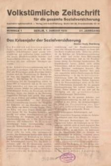Volkstümliche Zeitschrift für die gesamte Sozialversicherung, 37. Jahrgang, 1931, H. 1