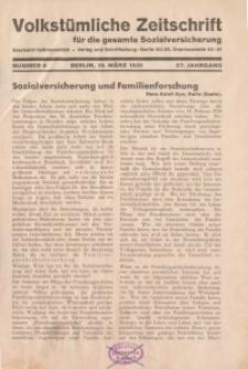 Volkstümliche Zeitschrift für die gesamte Sozialversicherung, 37. Jahrgang, 1931, H. 6