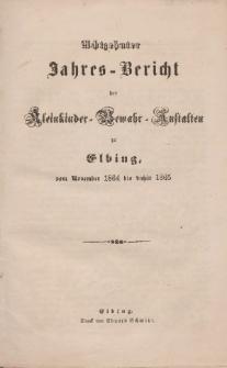 Jahres-Bericht der Kleinkinder-Bewahr-Anstalten zu Elbing, vom November 1864 bis dahin 1865