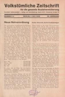 Volkstümliche Zeitschrift für die gesamte Sozialversicherung, 38. Jahrgang, 1932, H. 13