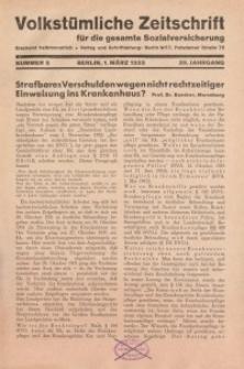 Volkstümliche Zeitschrift für die gesamte Sozialversicherung, 39. Jahrgang, 1933, H. 5
