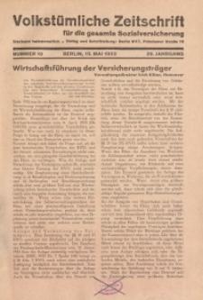Volkstümliche Zeitschrift für die gesamte Sozialversicherung, 39. Jahrgang, 1933, H. 10