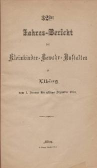 Jahres-Bericht der Kleinkinder-Bewahr-Anstalten zu Elbing, vom 1. Januar bis ultimo Dezember 1879