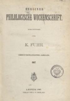 Berliner Philologische Wochenschrift, 1907