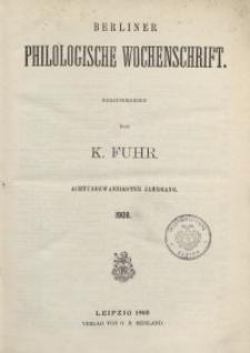 Berliner Philologische Wochenschrift, 1908