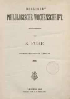 Berliner Philologische Wochenschrift, 1909