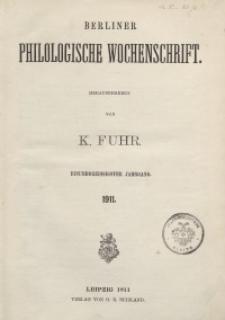 Berliner Philologische Wochenschrift, 1911