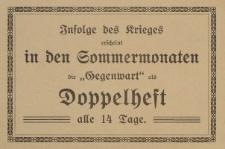 """Infolge des Kieges erscheint in den Sommermonaten die """"Gegenwart""""...[ulotka]"""