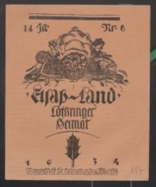 Elsaß-Land, Lothringer Heimat, 14. Jg. 1934, H. 6.