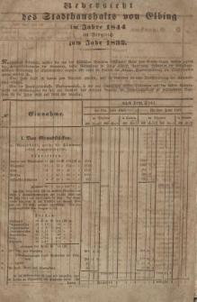 Uebersicht des Stadthaushalts von Elbing im Jahre 1844 im Vergleich zum Jahr 1832
