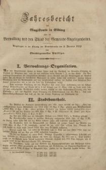 Jahresbericht des Magistrats in Elbing… pro 1852