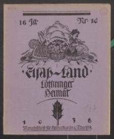 Elsaß-Land, Lothringer Heimat, 16. Jg. 1936, H. 10.