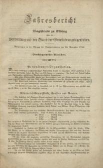 Jahresbericht des Magistrats zu Elbing… 1854-1855