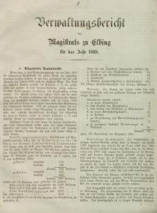 Verwaltungsbericht des Magistrats zu Elbing für das Jahr 1868