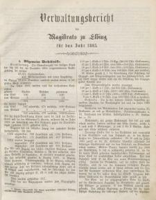 Verwaltungsbericht des Magistrats zu Elbing für das Jahr 1865