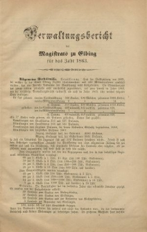 Verwaltungsbericht des Magistrats zu Elbing für das Jahr 1863