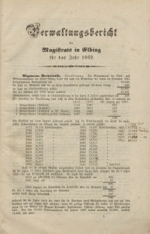 Verwaltungsbericht des Magistrats in Elbing für das Jahr 1862