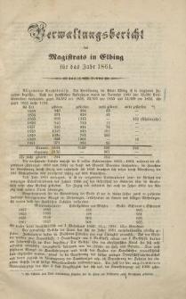 Verwaltungsbericht des Magistrats zu Elbing für das Jahr 1861