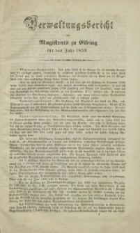 Verwaltungsbericht des Magistrats zu Elbing für das Jahr 1859