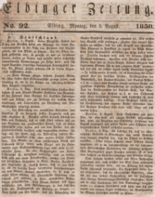 Elbinger Zeitung, No. 92 Montag, 5. August 1850