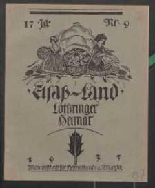 Elsaß-Land, Lothringer Heimat, 17. Jg. 1937, H. 9.