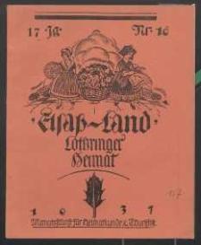 Elsaß-Land, Lothringer Heimat, 17. Jg. 1937, H. 10.
