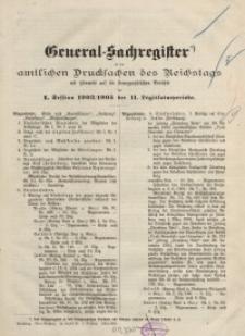 General-Sachregister zu den amtlichen Drucksachen des Reichstags…