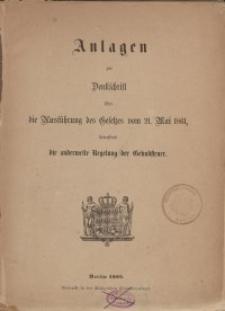 Anlagen zur Denkschrift über die Ausführung des Gesetzes vom 21. Mai 1861...