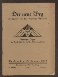 Der neue Weg. Halbmonatsschrift für das deutsche Theater, 64. Jg.1935, H. 1