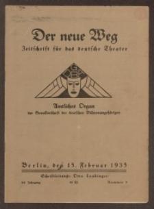 Der neue Weg. Halbmonatsschrift für das deutsche Theater, 64. Jg.1935, H. 3