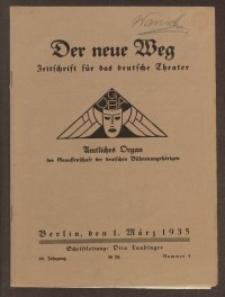 Der neue Weg. Halbmonatsschrift für das deutsche Theater, 64. Jg.1935, H. 4