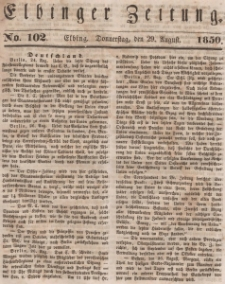Elbinger Zeitung, No. 102 Donnerstag, 29. August 1850