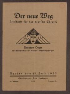 Der neue Weg. Halbmonatsschrift für das deutsche Theater, 64. Jg.1935, H. 11