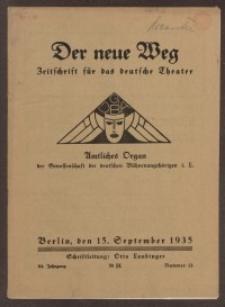 Der neue Weg. Halbmonatsschrift für das deutsche Theater, 64. Jg.1935, H. 13