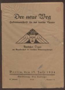 Der neue Weg. Halbmonatsschrift für das deutsche Theater, 63. Jg.1934, H. 11