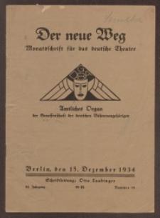 Der neue Weg. Halbmonatsschrift für das deutsche Theater, 63. Jg.1934, H. 18