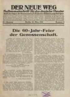 Der neue Weg. Halbmonatsschrift für das deutsche Theater, 60. Jg.1931, H. 6