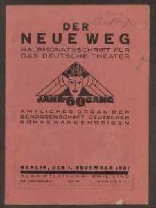 Der neue Weg. Halbmonatsschrift für das deutsche Theater, 60. Jg.1931, H. 21