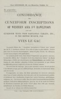 Concordance des Cuneiform Inscriptions of Western Asia I-V Rawlinson [ulotka]
