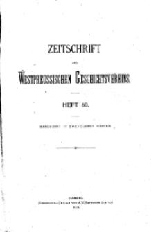 Zeitschrift des Westpreußischen Geschichtsvereins, 1920, H. 60