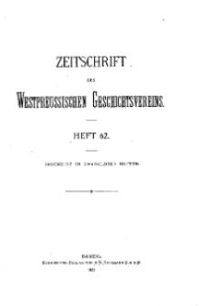 Zeitschrift des Westpreußischen Geschichtsvereins, 1922, H. 62