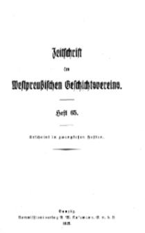 Zeitschrift des Westpreußischen Geschichtsvereins, 1925, H. 65