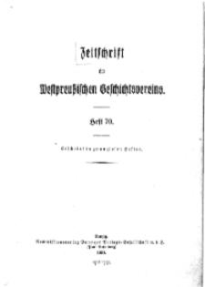 Zeitschrift des Westpreußischen Geschichtsvereins, 1930, H. 70