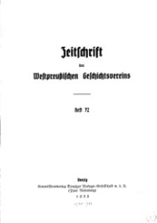 Zeitschrift des Westpreußischen Geschichtsvereins, 1935, H. 72