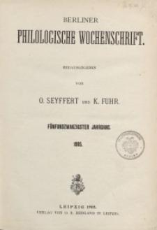 Berliner Philologische Wochenschrift, 1905