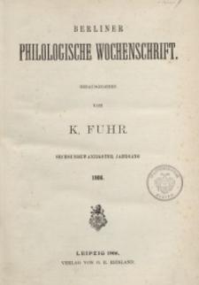 Berliner Philologische Wochenschrift, 1906
